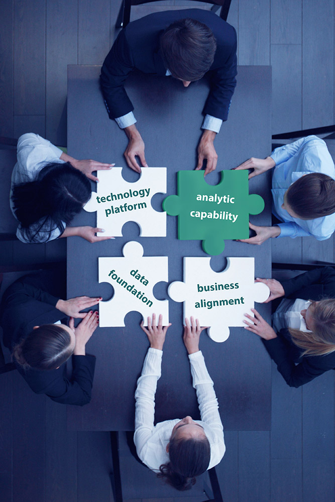 Jigsaw style graphic layered over a boardroom style meeting arial image shot where by the board members are putting the four puzzle pieces together labeled technology platform, analytic capability, data foundation and business management.